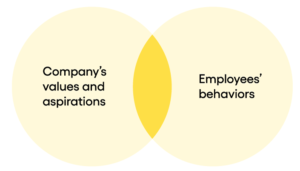 Graph to show match between a company's values and aspirations and employees' observed behaviors
