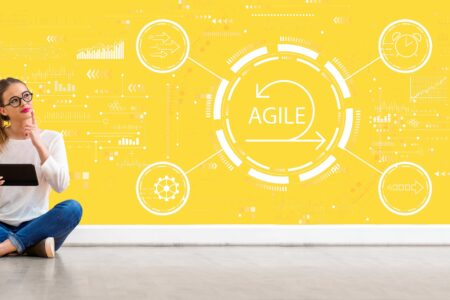 Agile concept with woman using a tablet